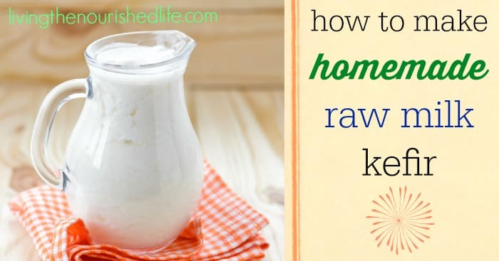 How to Make Homemade Raw Milk Kefir: a pitcher of raw milk kefir on orange plaid napkin