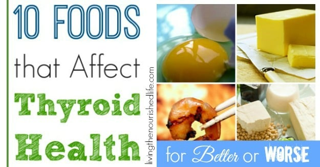 10 Foods that Affect Your Thyroid Health: collage of eggs, butter, seafood, and soy