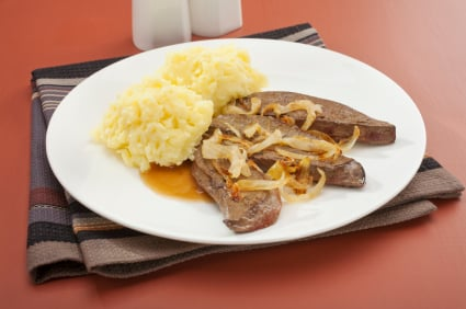 Liver and Onion with Mash Mashed Potato
