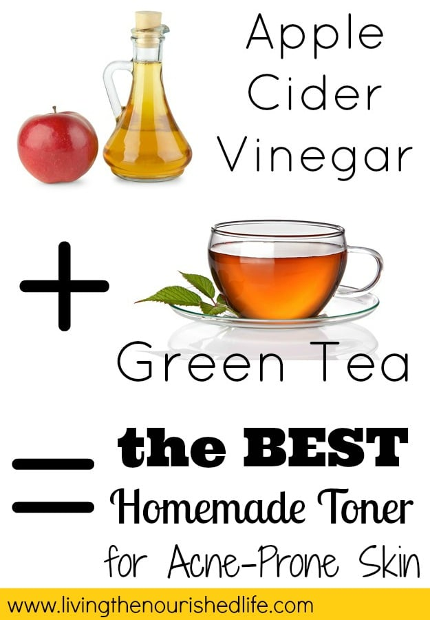 The Best Homemade Toner for Acne Prone Skin: simple photo about how apple cider vinegar plus green tea equals the BEST homemade toner
