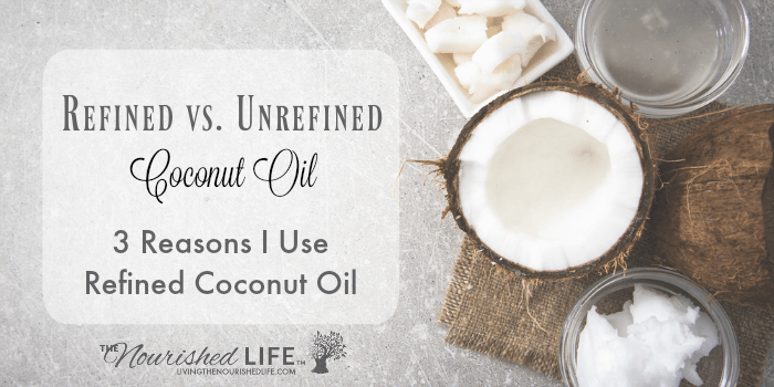 3 Reasons I Use Refined Coconut Oil: split in half coconut on a pretty burlap mat