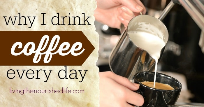 Pouring creamer into a cup of coffee, learning about the health benefits of coffee and why I drink coffee every day