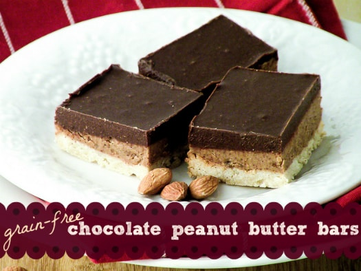 grain free chocolate peanut butter bars recipe