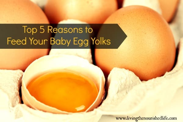 Top 5 Reasons to Feed Your Baby Egg Yolks: eggs in carton, one broken in half