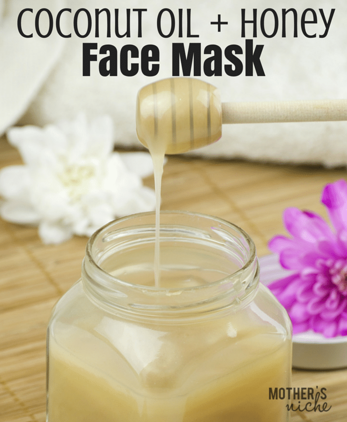 Coconut Oil for Skin: Face Mask with honey comb drizzling into glass jar
