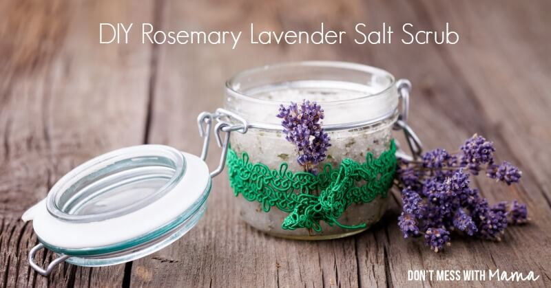 Coconut Oil for Skin: Rosemary Lavender Salt Scrub in glass jar with lavender buds