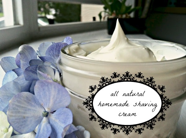 Coconut Oil for Skin: Homemade Shaving Cream in glass jar surrounded by blue flowers