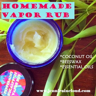 Coconut Oil for Skin: Homemade Vapor Rub in blue jar surrounded by green plants