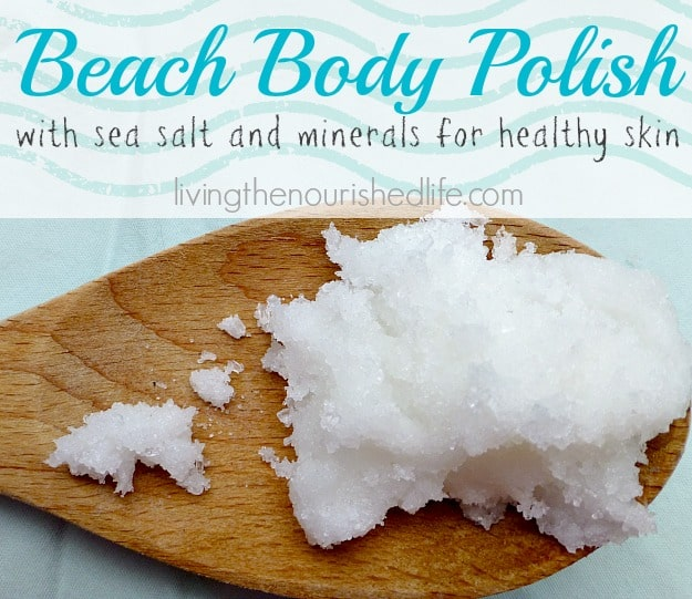 Coconut Oil for Skin: Beach Body Polish Recipe (on a wooden spoon)