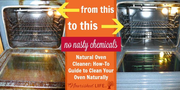 Natural Oven Cleaner How-To Guide to Clean Your Oven Naturally: left photo of dirty oven and right photo is clean oven