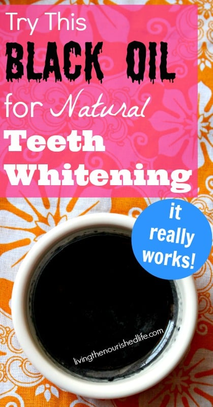 Natural Teeth Whitening: Charcoal teeth whitening oil in a small bowl