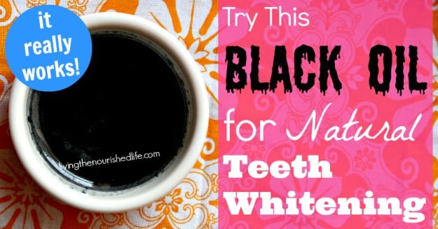 Homemade Natural teeth whitening oil in a small white bowl