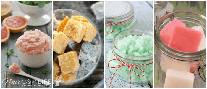 21 BEST Homemade Sugar Scrubs: a photo collage of 4 pretty sugar scrubs
