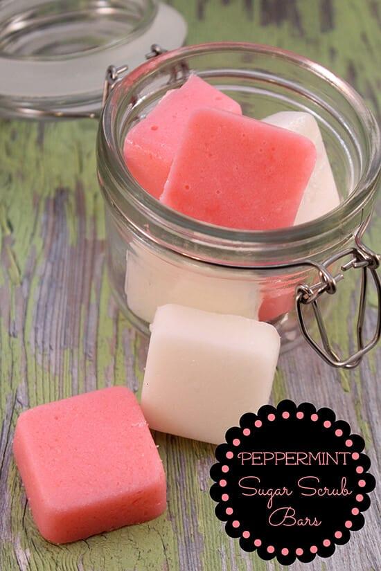 cute pink peppermint scrub bars in a glass jar