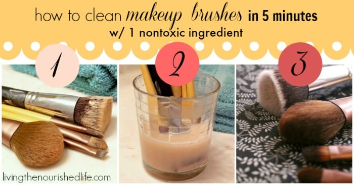 How to Clean Makeup Brushes in 5 Minutes with 1 Nontoxic Ingredient - from livingthenourishedlife.com