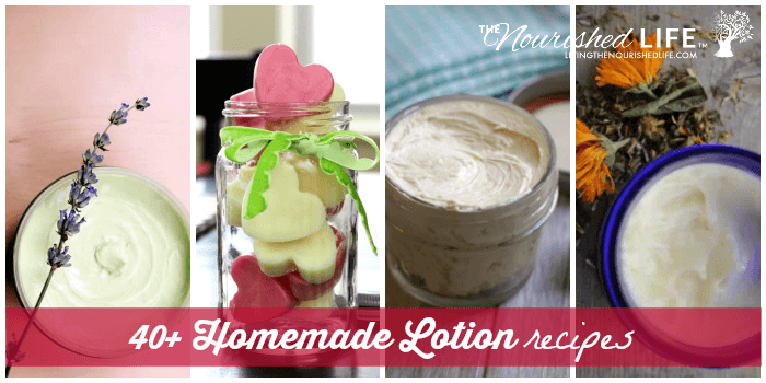 DIY lotion and moisturizer recipes in a collage