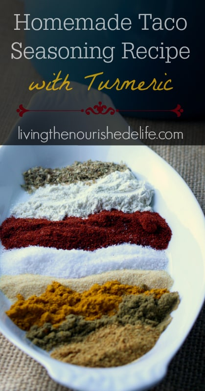 Gluten-free homemade taco seasoning mix recipe with turmeric - at livingthenourishedlife.com