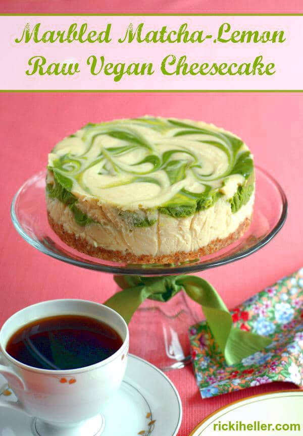 37 Awesome Matcha Green Tea Recipes: Marbled Matcha-Lemon Raw Cheesecake