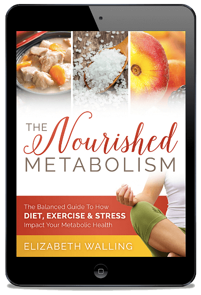 eBook cover of The Nourished Metabolism on a tablet