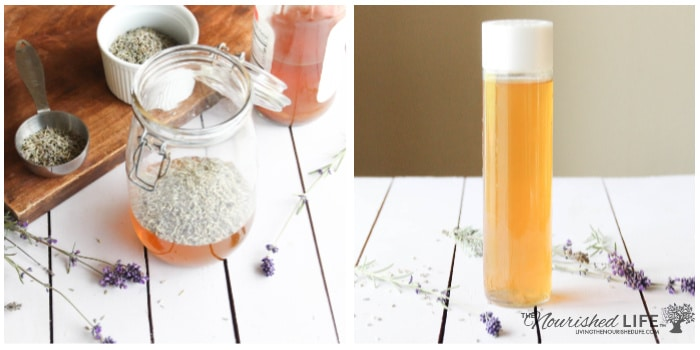 Apple cider vinegar hair rinse with lavender and rosemary