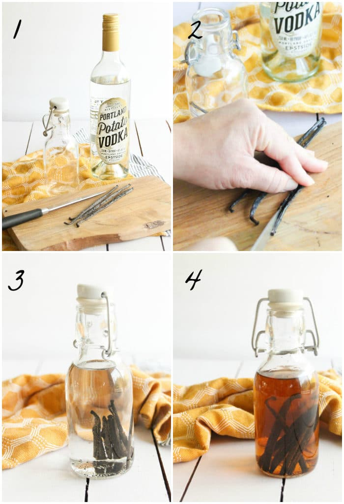 A 4-step photo collage for how to make your own vanilla extract
