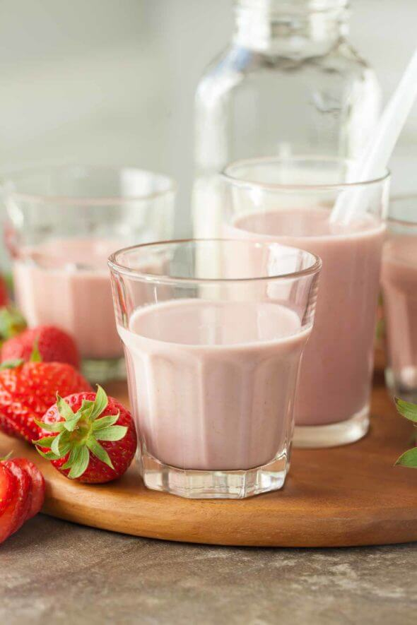 Strawberry Cashew Chia Milk
