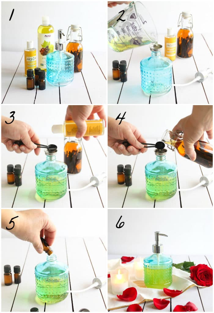 A collage of steps to make your own sensual massage oil with essential oils