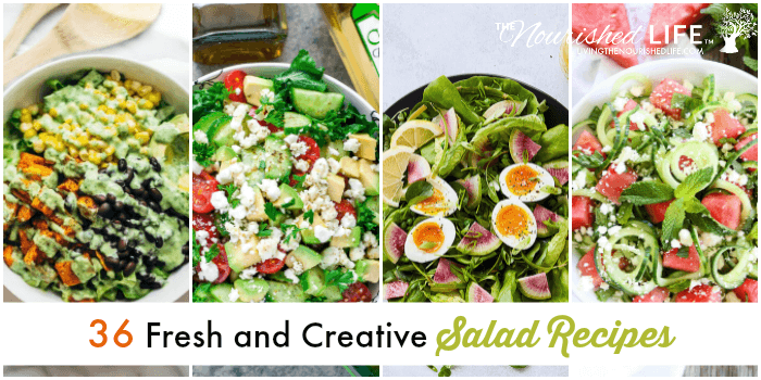 Healthy salad recipes in a collage