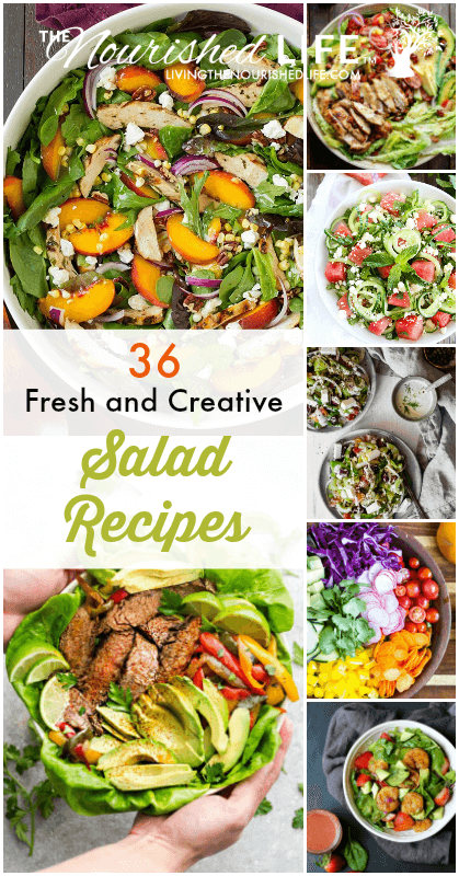 Healthy salad recipes in a collage of beautiful salads