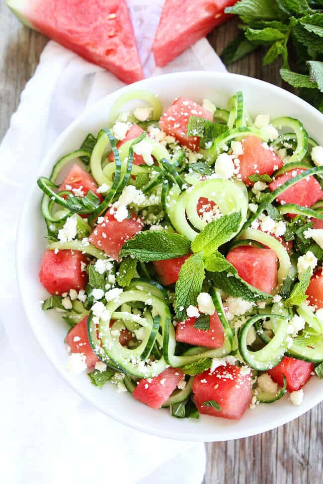 One of the best salad recipes with watermelon and cucumber