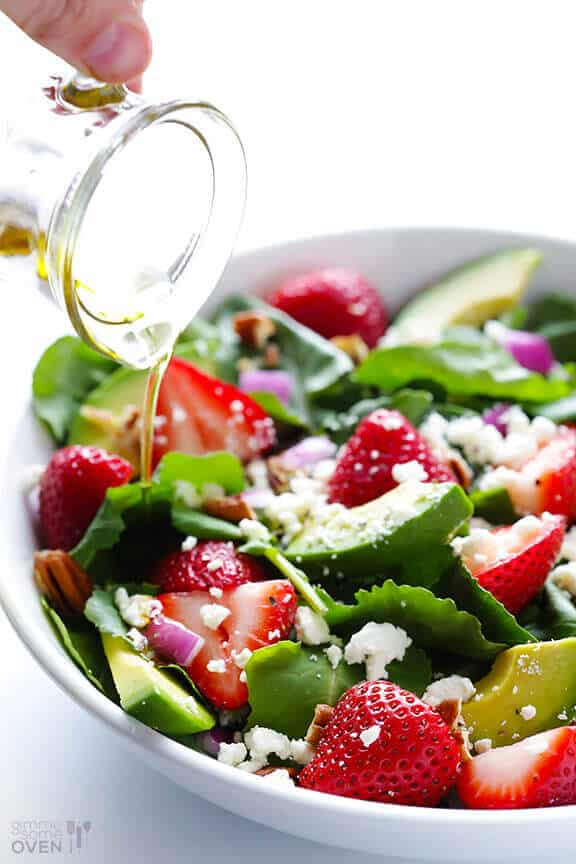 Colorful, healthy salad recipes with strawberries and avocado