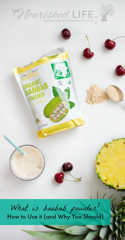 Baobab powder with cherries and pineapple in a delicious drink