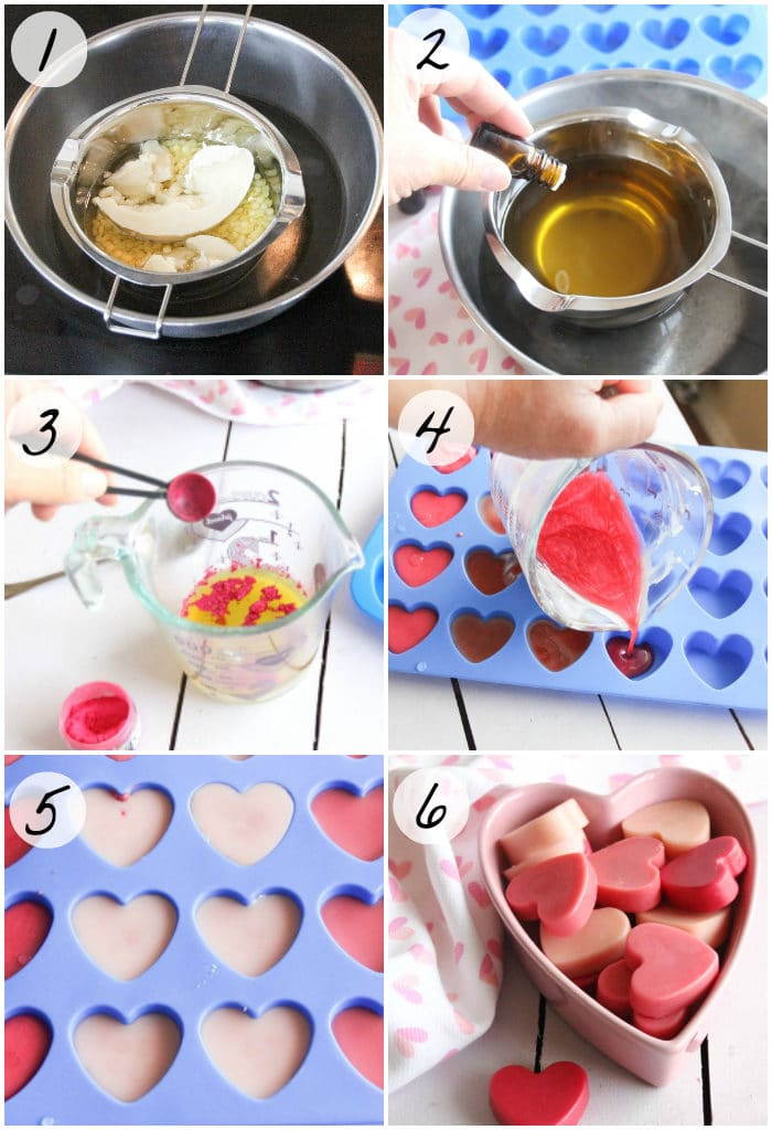 Photo collage of steps to make your own lotion bar recipe