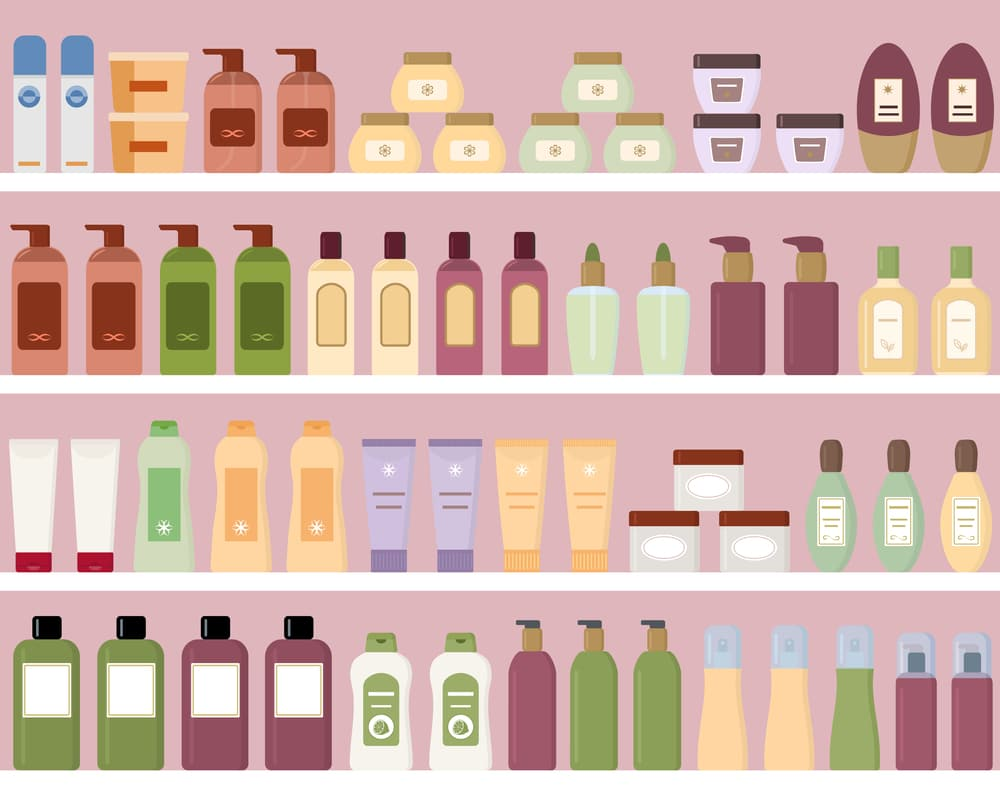 Colorful graphic of lotion and moisturizer bottles on a store shelf