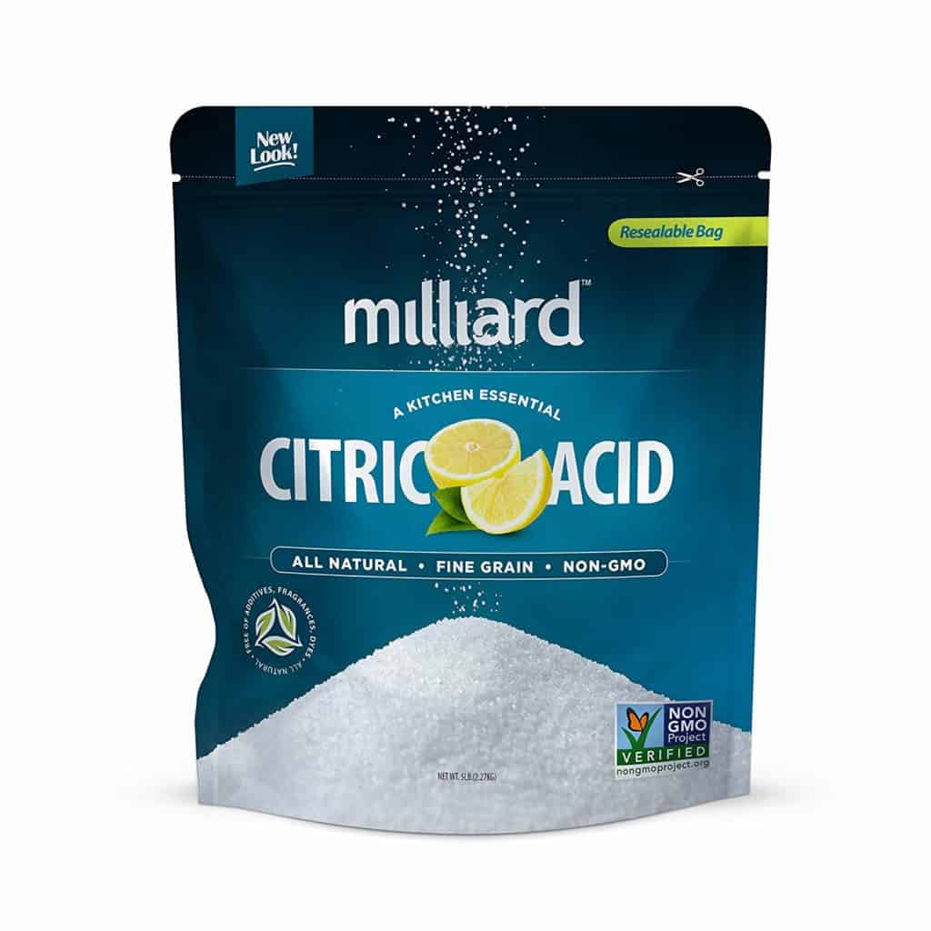 a blue 5-pound bag of citric acid